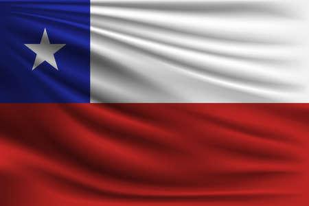 La bandera nacional de Chile. El símbolo del estado en tejido de seda ondulado. Ilustración de vector realista.