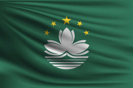 macau: The national flag of Macau. The symbol of the state on wavy silk fabric. Realistic vector illustration.