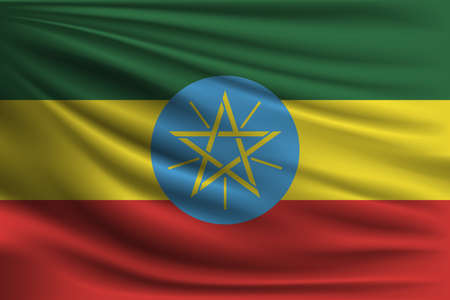 national flag ethiopia: The national flag of Ethiopia. The symbol of the state on wavy silk fabric. Realistic vector illustration.