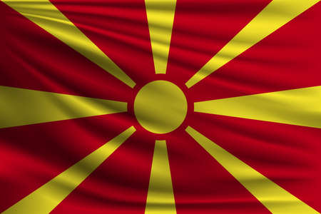 The national flag of Macedonia. The symbol of the state on wavy silk fabric. Realistic vector illustration.