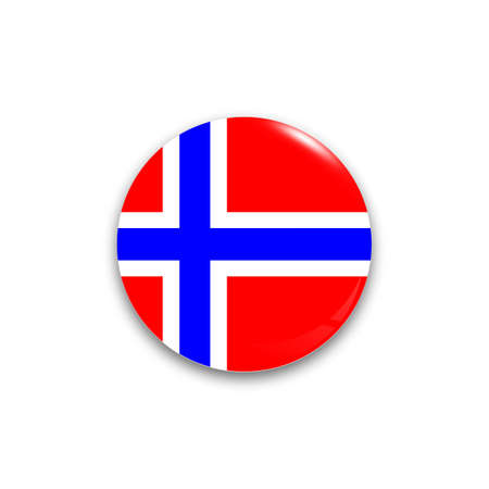 norway flag: Round button national flag Norway of with the reflection of light and shadow realistic. Icon country.