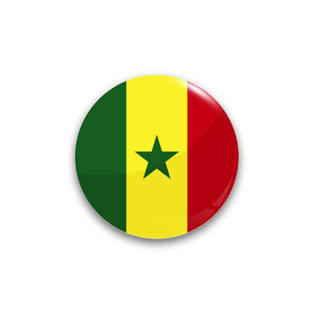 dakar: Round button national flag of Senegal with the reflection of light and shadow realistic. Icon country.