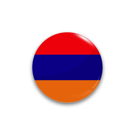 armenia: Round button national flag of Armenia with the reflection of light and shadow realistic. Illustration