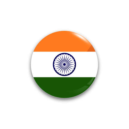 Round button national flag of India with the reflection of light and shadow realistic. Icon country. Illustration