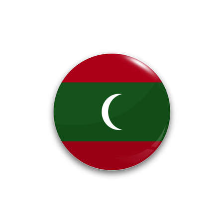 Round button national flag of Maldives with the reflection of light and shadow realistic. Icon country.
