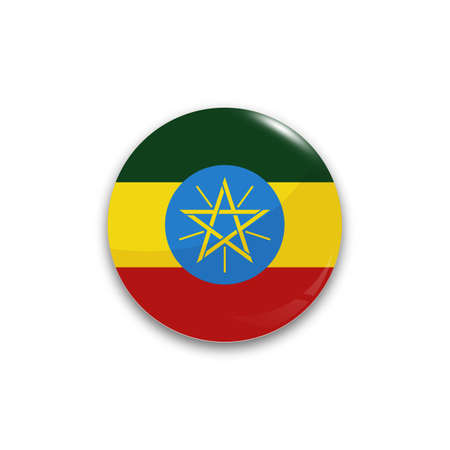national flag ethiopia: Round button national flag of Ethiopia with the reflection of light and shadow realistic. Icon country. Illustration