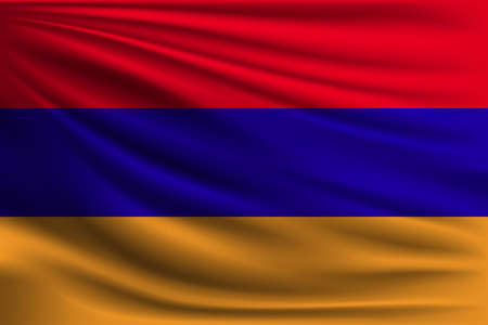 The national flag of Armenia. The symbol of the state on wavy silk fabric. Realistic vector illustration.