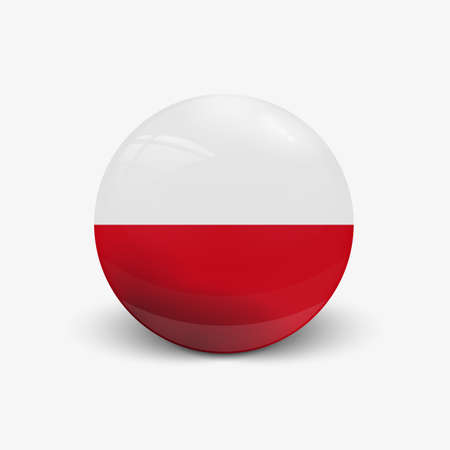 shere: Realistic ball with flag of Poland shere with a reflection of the incident light with shadow.