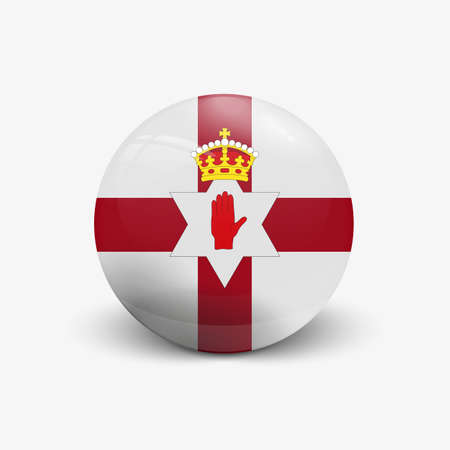 Realistic ball with flag of North Ireland. Sphere with a reflection of the incident light with shadow.