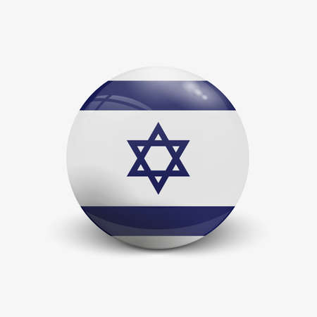 Realistic ball with flag of Israel. Sphere with a reflection of the incident light with shadow.