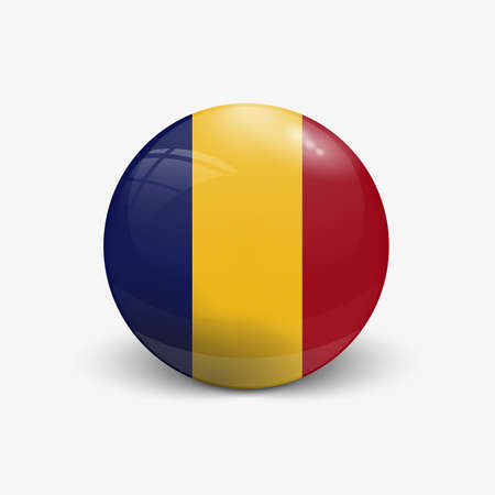 Realistic ball with flag of Romania. Sphere with a reflection of the incident light with shadow.
