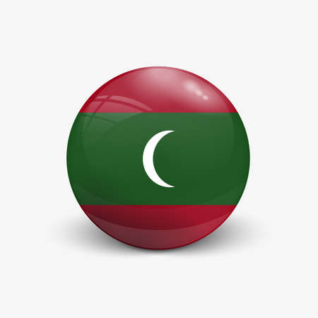 Realistic ball with flag of Maldives island. Sphere with a reflection of the incident light with shadow.