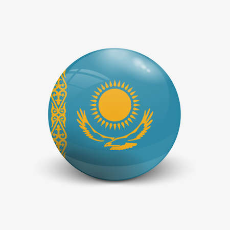 kazakhstan: Realistic ball with flag of Kazakhstan. Sphere with a reflection of the incident light with shadow.