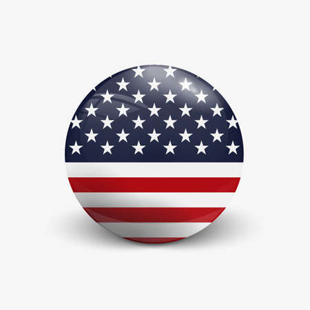 incident: Realistic ball with flag of USA. Sphere with a reflection of the incident light with shadow.