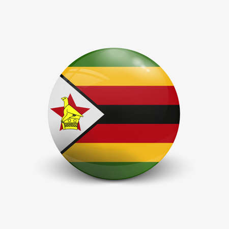 Realistic ball with flag of Zimbabwe. Sphere with a reflection of the incident light with shadow. Illustration