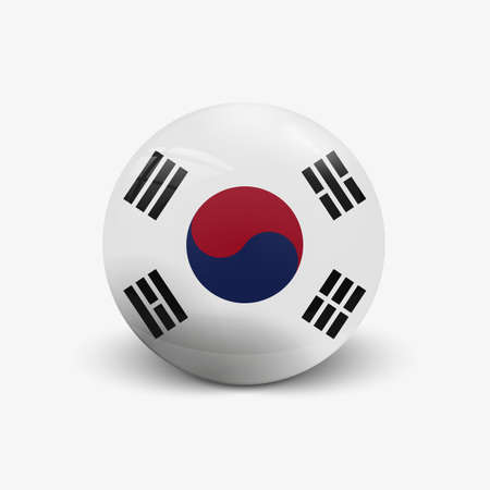 incident: Realistic ball with flag of South Korea. Sphere with a reflection of the incident light with shadow. Illustration