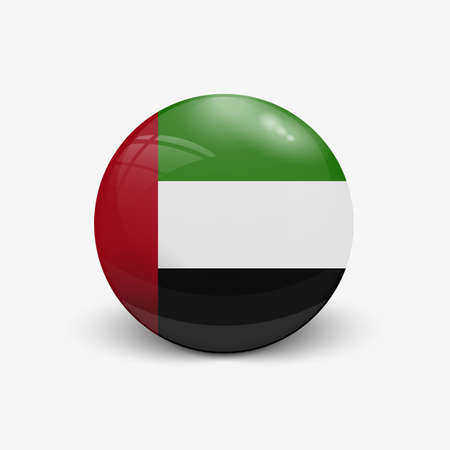 Realistic ball with flag of United arab Emirates. Sphere with a reflection of the incident light with shadow. Ilustração