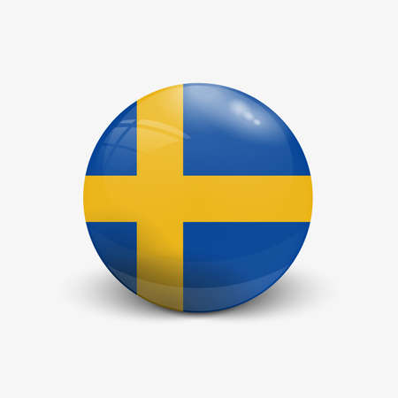 scandinavia: Realistic ball with flag of Sweden. Sphere with a reflection of the incident light with shadow.