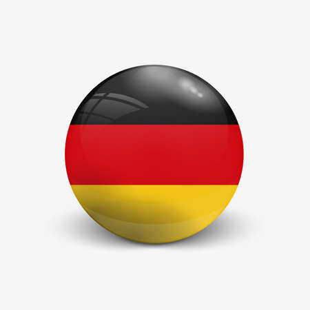 Realistic ball with flag of Germany with reflection of the incident light with shadow.