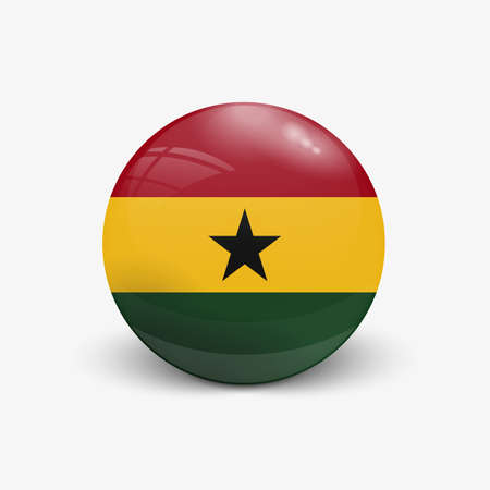 Realistic ball with flag of Ghana with reflection of the incident light with shadow.