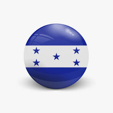 incident: Realistic ball with flag of Honduras. Sphere with a reflection of the incident light with shadow. Illustration