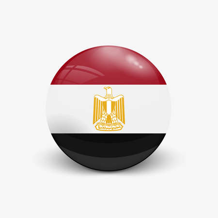 Realistic ball with flag of Egypt. Sphere with a reflection of the incident light with shadow.