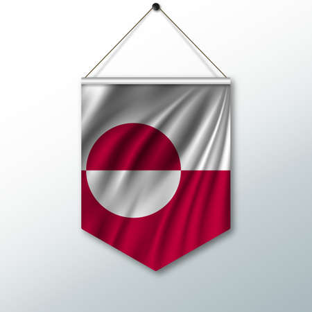 The national flag of Greenland. The symbol of the state in the pennant hanging on the rope. Realistic vector illustration.