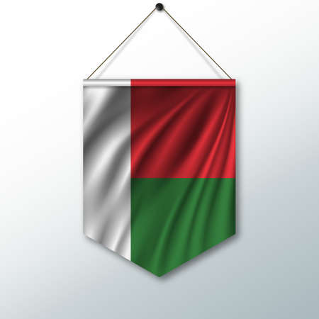 The national flag of Madagascar. The symbol of the state in the pennant hanging on the rope. Realistic vector illustration.