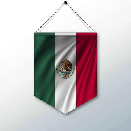 pennon: The national flag of Mexico. The symbol of the state in the pennant hanging on the rope. Realistic vector illustration.