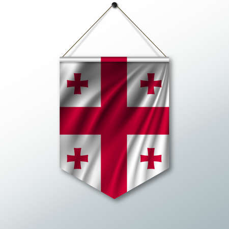 pennon: The national flag of Georgia. The symbol of the state in the pennant hanging on the rope. Realistic vector illustration. Illustration