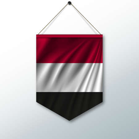 pennon: The national flag of Yemen. The symbol of the state in the pennant hanging on the rope. Realistic vector illustration.