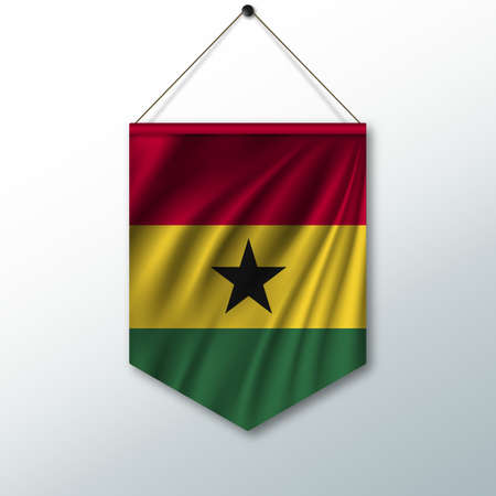 pennon: The national flag of Ghana. The symbol of the state in the pennant hanging on the rope. Realistic vector illustration.
