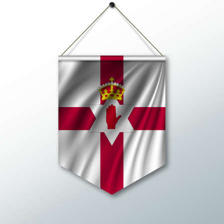 belfast: The national flag of Northern Ireland. The symbol of the state in the pennant hanging on the rope. Realistic vector illustration.