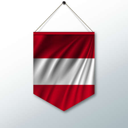 pennon: The national flag of Austria. The symbol of the state in the pennant hanging on the rope. Realistic vector illustration.