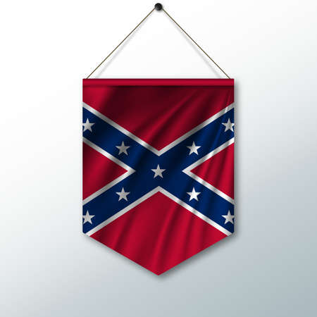 The national flag of Confederate. The symbol of the state in the pennant hanging on the rope. Realistic vector illustration. Illustration