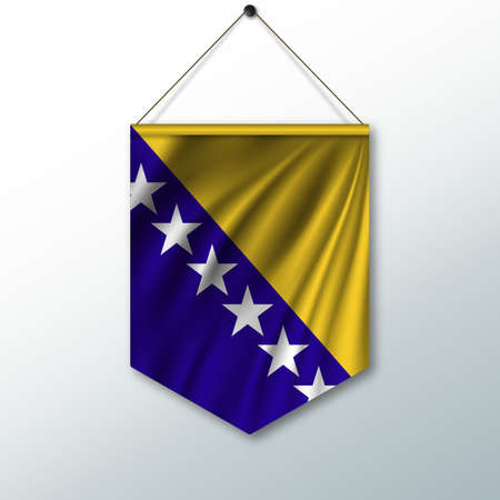 The national flag of Bosnia and Herzegovina. The symbol of the state in the pennant hanging on the rope. Realistic vector illustration.
