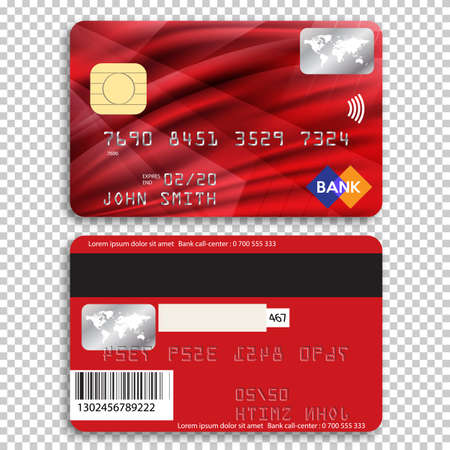 Realistic detailed credit card. Front and back side. Vector illustration of a bank card on a transparent background. 矢量图像