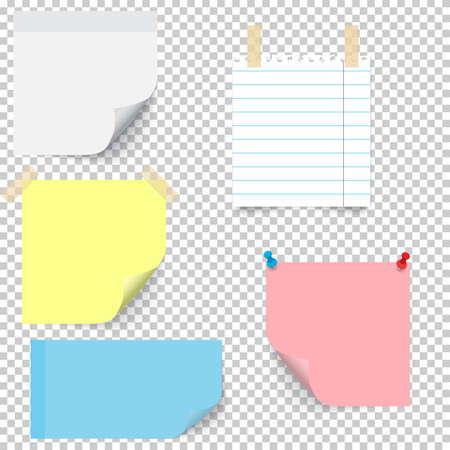yellow notepad: Set of different types stick note isolated on transparent background.
