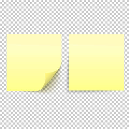 yellow tacks: Yellow stick note isolated on transparent background Illustration