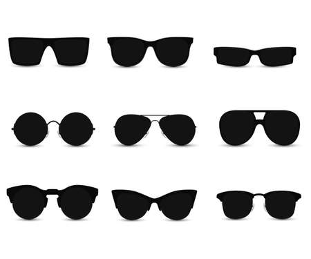 Set of fashionable sunglasses in black frame.