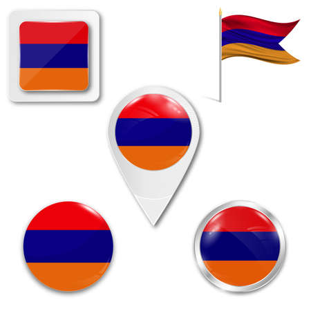 Set of icons of the national flag of Armenia in different designs on a white background. Realistic vector illustration. Button, pointer and checkbox.