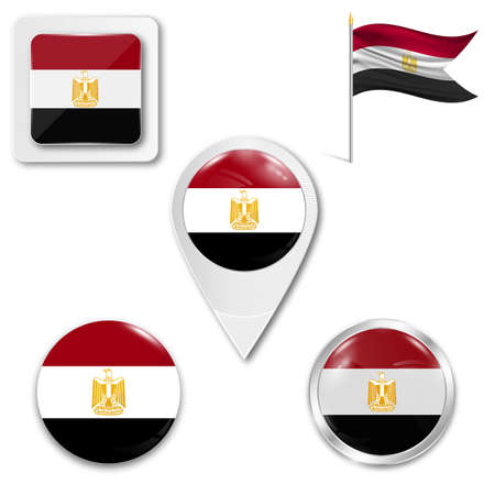 middle: Set of icons of the national flag of Egypt in different designs on a white background. Realistic vector illustration. Button, pointer and checkbox.