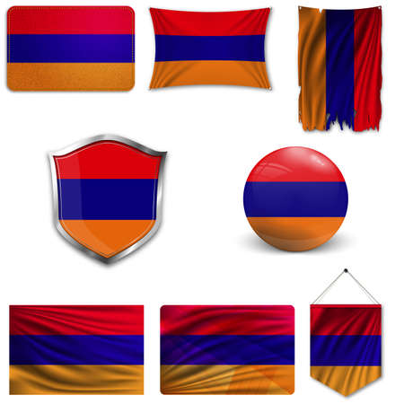 Set of the national flag of Armenia in different designs on a white background. Realistic vector illustration. Illustration