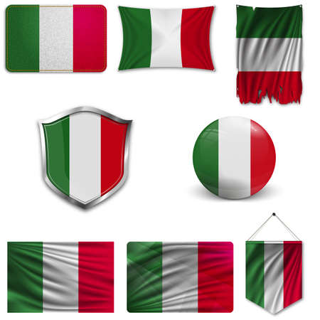 Set of the national flag of Italy in different designs on a white background. Realistic vector illustration. Illustration