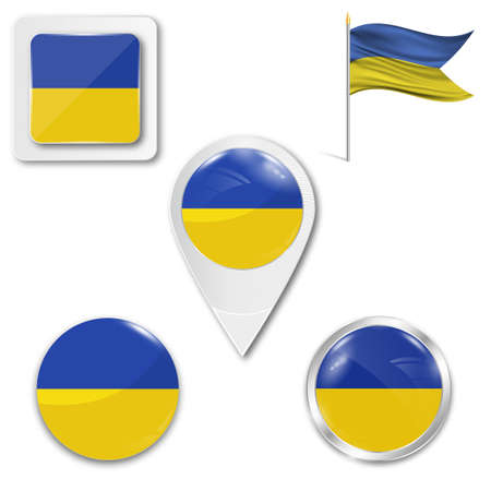 Set of icons of the national flag of Ukraine in different designs on a white background. Realistic vector illustration. Button, pointer and checkbox.