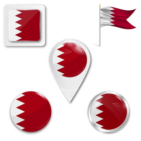 middle: Set of icons of the national flag of Bahrain in different designs on a white background. Realistic vector illustration. Button, pointer and checkbox.