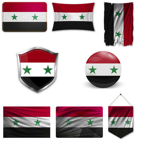 Set of the national flag of Syria in different designs on a white background. Realistic vector illustration.