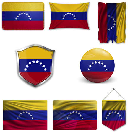 Set of the national flag of Venezuela in different designs on a white background. Realistic vector illustration.