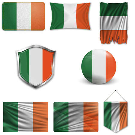 Set of the national flag of Ireland in different designs on a white background. Realistic vector illustration.