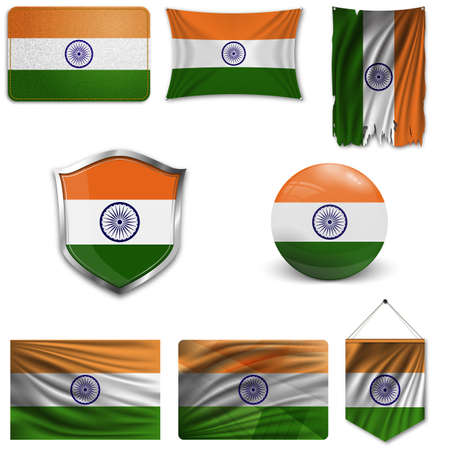 Set of the national flag of India in different designs on a white background. Realistic vector illustration. Illustration